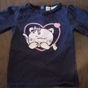 Bob der Bar CAT Applique Blue Shirt 9-12M